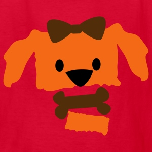 Red pretty dog face with open jaw bow and bone Kids' Shirts - Kids' T-Shirt