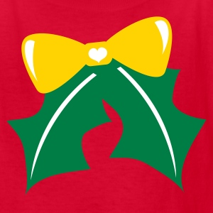 Red pretty christmas bow with holly and a little cute love heart  Kids' Shirts - Kids' T-Shirt