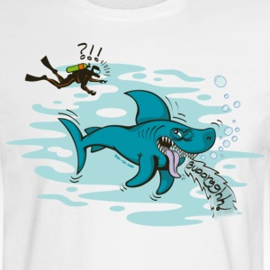 White Disgusted Shark Long Sleeve Shirts - Men's Long Sleeve T-Shirt