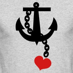 Kelly green anchor with love heart Long Sleeve Shirts