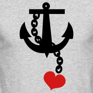 Kelly green anchor with love heart Long Sleeve Shirts - Men's Long Sleeve T-Shirt by Next Level