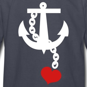 Navy anchor with love heart Kids' Shirts - Kids' Long Sleeve T-Shirt