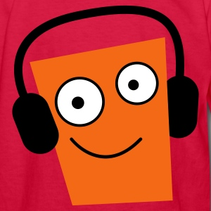 Red DJ funny face listening to his IPOD smiling Kids' Shirts - Kids' Long Sleeve T-Shirt