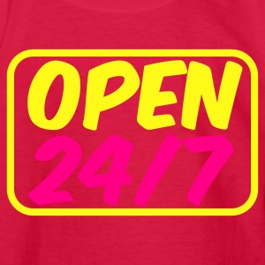 Red open 24 seven twenty four hours a day Kids' Shirts - Kids' Long Sleeve T-Shirt