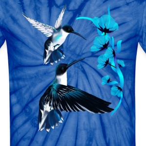 Two Blue Hummingbirds - Unisex Tie Dye T-Shirt