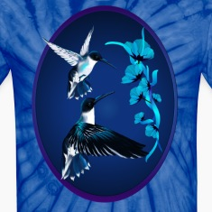 Two Blue Hummingbirds Oval