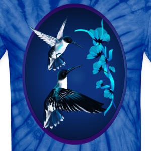 Two Blue Hummingbirds Oval - Unisex Tie Dye T-Shirt