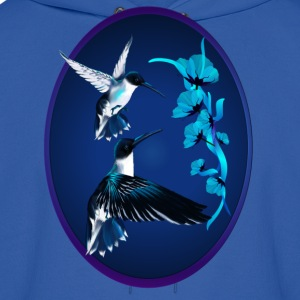 Two Blue Hummingbirds Oval - Men's Hoodie