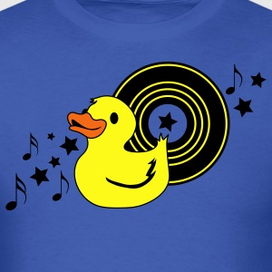 Royal blue rubber duckie with music record stars and funky ! T-Shirts - Men's T-Shirt