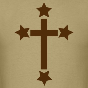 Khaki simple cross with stars ! T-Shirts - Men's T-Shirt