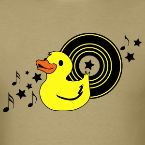 Khaki rubber duckie with music record stars and funky ! T-Shirts - Men's T-Shirt