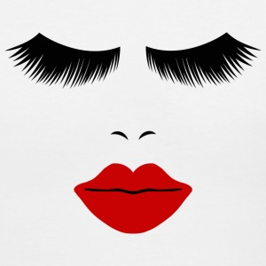 White Fashion Face Silhouette, Red Lips, Lashes--DIGITAL DIRECT ONLY! Women's T-Shirts - Women's V-Neck T-Shirt