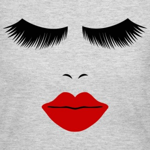 Gray Fashion Face Silhouette, Red Lips, Lashes--DIGITAL DIRECT ONLY! Long Sleeve Shirts - Women's Long Sleeve Jersey T-Shirt