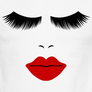 White/black Fashion Face Silhouette, Red Lips, Lashes--DIGITAL DIRECT ONLY! T-Shirts - Men's Ringer T-Shirt