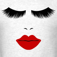 Light oxford Fashion Face Silhouette, Red Lips, Lashes--DIGITAL DIRECT ONLY! T-Shirts