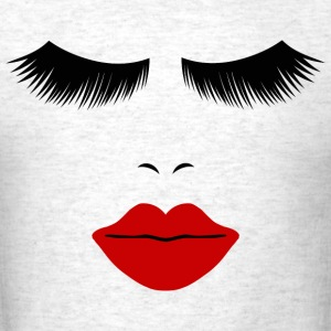 Light oxford Fashion Face Silhouette, Red Lips, Lashes--DIGITAL DIRECT ONLY! T-Shirts - Men's T-Shirt