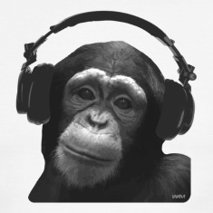 White/black MONKEY DJ by wam T-Shirts
