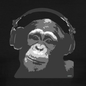 Black/white dj monkey light by wam T-Shirts - Men's Ringer T-Shirt