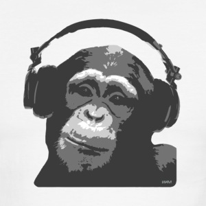 White/black DJ MONKEY by wam T-Shirts - Men's Ringer T-Shirt