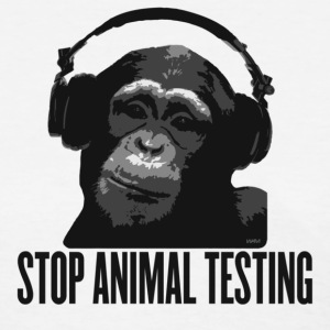 White DJ MONKEY stop animal testing by wam Women's T-Shirts - Women's T-Shirt