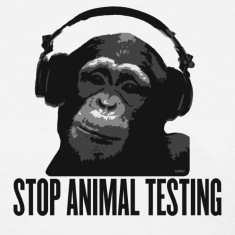 White DJ MONKEY stop animal testing by wam Women's T-Shirts