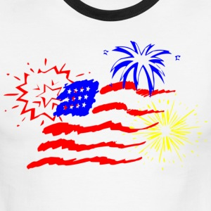 White/black fireworks T-Shirts - Men's Ringer T-Shirt