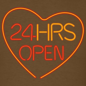 Brown neon sign: 24 hrs open heart T-Shirts - Men's T-Shirt