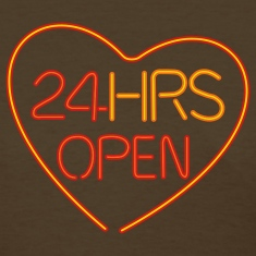 Brown neon sign: 24 hrs open heart Women's T-Shirts