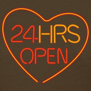 Brown neon sign: 24 hrs open heart Women's T-Shirts - T-shirt pour femmes