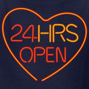 Navy neon sign: 24 hrs open heart Kids' Shirts - Kids' T-Shirt
