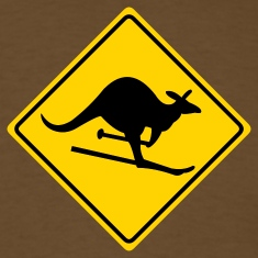 Brown roadsign kangaroo T-Shirts