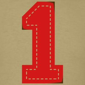 Khaki Number One Patch T-Shirts - Men's T-Shirt
