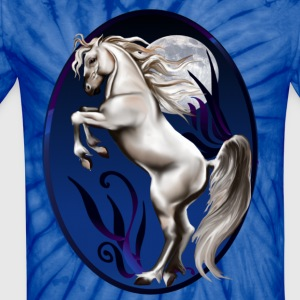 Rearing White Horse Oval - Unisex Tie Dye T-Shirt