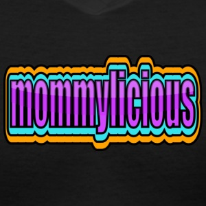 Black Funky Mommylicious With Borders--DIGITAL DIRECT PRINT Women's T-Shirts - Women's V-Neck T-Shirt