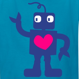 Turquoise robot cute with love heart Kids' Shirts - Kids' T-Shirt