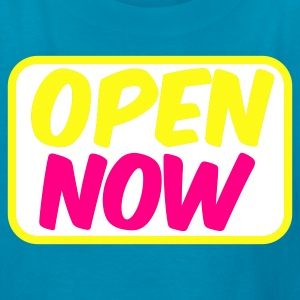 Turquoise open now neon 80s font lights Kids' Shirts - Kids' T-Shirt