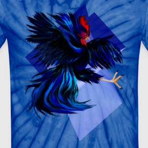 Black Fighting Rooster - Unisex Tie Dye T-Shirt
