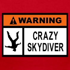 Red Warning Crazy Skydiver Long Sleeve Shirts