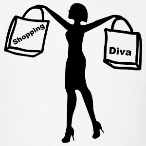 White Shopping Diva T-Shirts - Men's T-Shirt