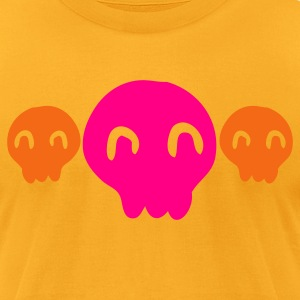 Gold SKULL little skulls smiling cute T-Shirts - Men's T-Shirt by American Apparel