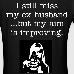 I still miss my ex husband...but my aim is improving! - Women's V-Neck T-Shirt