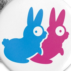 White kamasutra rabbits (A, 2c) Buttons - Large Buttons