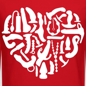 Red Sex Tools Heart Long Sleeve Shirts - Crewneck Sweatshirt