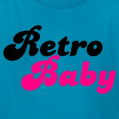 Turquoise retro baby in funky cute font Kids' Shirts