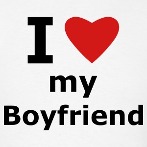 White I love my boyfriend T-Shirts - Men's T-Shirt