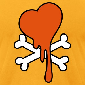Gold CROSSBONES WITH A DRIPPING HEART T-Shirts - Men's T-Shirt by American Apparel