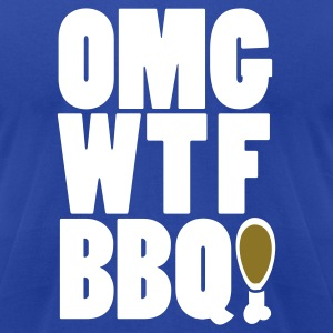 Royal blue OMGWTFBBQ!  By VOM Design - virtualONmars T-Shirts - Men's T-Shirt by American Apparel