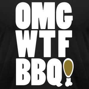Black OMGWTFBBQ!  By VOM Design - virtualONmars T-Shirts - Men's T-Shirt by American Apparel