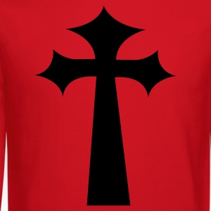 Red GOTHIC EMO PUNK CROSS Long Sleeve Shirts - Crewneck Sweatshirt