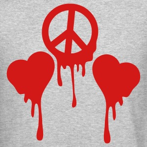 Heather grey BLEEDING PEACE SIGN with LOVE HEART s Long Sleeve Shirts - Crewneck Sweatshirt